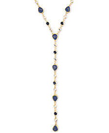 """RACHEL Rachel Roy Gold-Tone Crystal & Stone Lariat Necklace, 20"""" + 2"""" extender"""