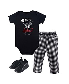 Little Treasure Unisex Baby Bodysuit, Pant and Shoes, What's Cooking, 3-Piece Set, 0-3 Months