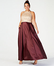 B Darlin Trendy Plus Size Appliqué & Satin Halter Gown