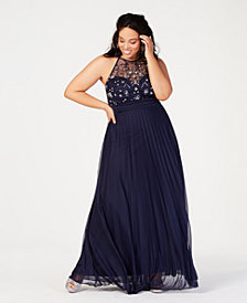 B Darlin Trendy Plus Size Rhinestone Halter Gown, Created for Macy's