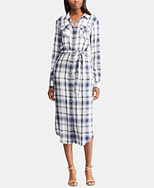 Lauren Ralph Lauren Belted Plaid Shirtdress