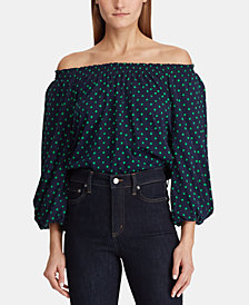 Lauren Ralph Lauren Polka-Dot Off-The-Shoulder Top