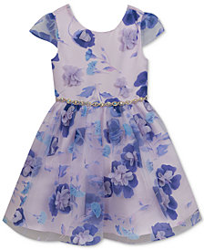 Rare Editions Toddler Girls Floral-Print Organza Fit & Flare Dress