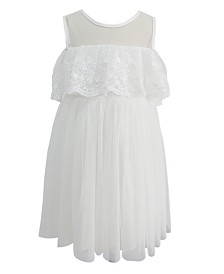 Popatu Toddler & Big Girls White Lace Off Shoulder Dress