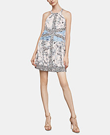 BCBGMAXAZRIA Print-Blocked A-Line Dress