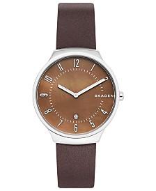 Skagen Men's Grenen Espresso Leather Strap Watch 38mm
