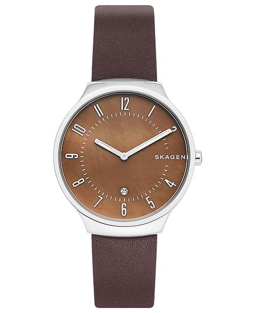 Men's Grenen Espresso Leather Strap Watch 38mm
