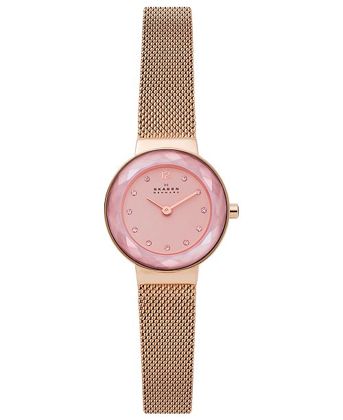 Skagen Women's Leonora Rose Gold-Tone Stainless Steel Mesh Bracelet Watch 25mm