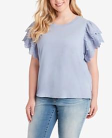 Jessica Simpson Trendy Plus Size Rina Cotton Eyelet-Sleeve Top