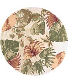 "KAS Sparta Palm Leaves 3148 Beige 5'6"" Round Area Rug"