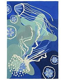 Capri 1665 Jelly Fish Blue 2' x 8' Indoor/Outdoor Runner Area Rug