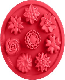 """Trudeau 9"""" Structure Round Cake Pan 8 Flowers"""