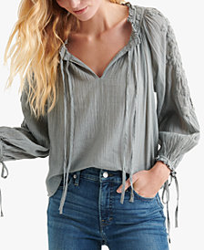 Lucky Brand Embroidered Cotton Peasant Top