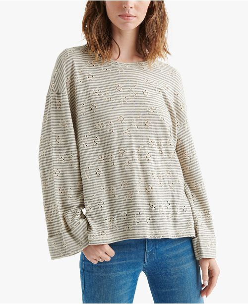Lucky Brand Dropped-Shoulder Eyelet Top
