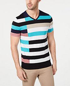Alfani Men's Colorblocked Stripe V-Neck T-Shirt, Created for Macy's