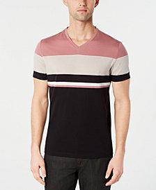 Alfani Men's Textured Colorblocked V-Neck T-Shirt, Created for Macy's