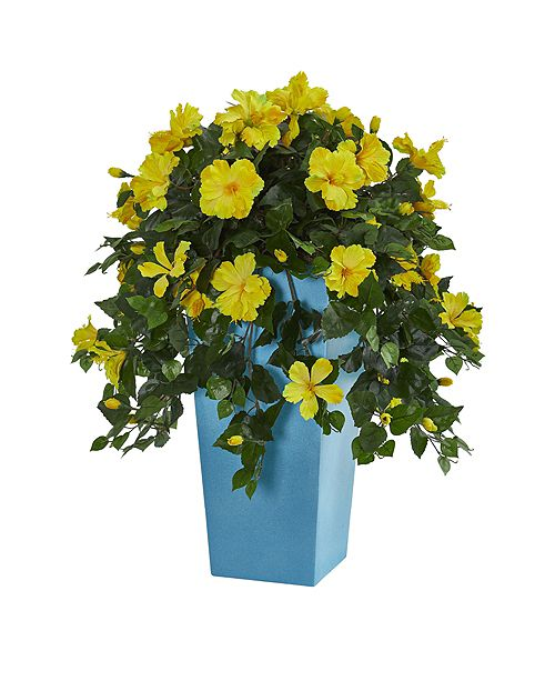 """Nearly Natural 31"""" Hibiscus Artificial Plant in Turquoise Tower Vase"""