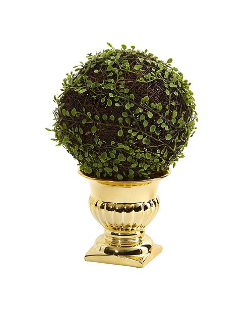 Nearly Natural Mohlenbechia Ball Topiary in Gold Urn