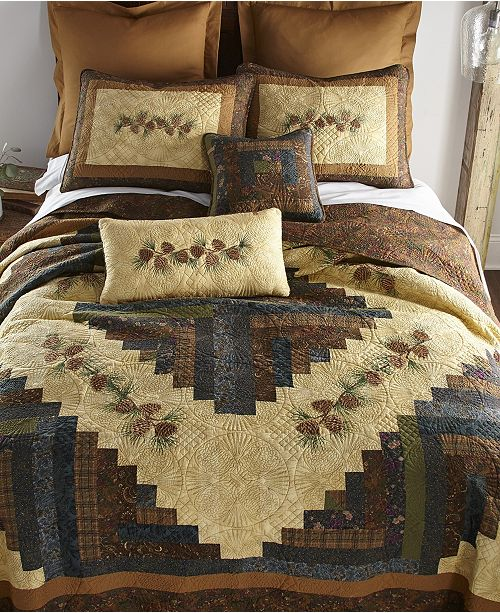 American Heritage Textiles Cabin Raising Pine Cone Cotton Quilt Collection, Twin