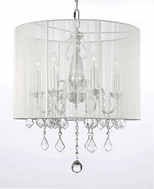 Empress Crystal 5-Light Chrome Chandelier with White Shade