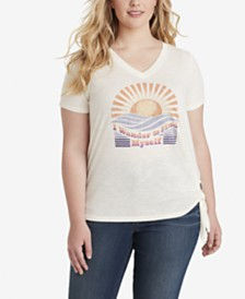 Jessica Simpson Trendy Plus Size Maya Side-Tie Printed T-Shirt
