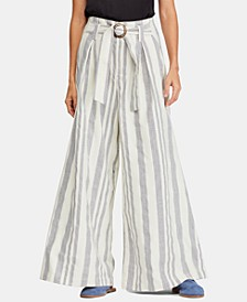 Hi Tyed Wide-Leg Striped Pants