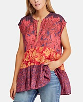 0cb42e5af9fd90 Free People Gotta Have You Cotton Mixed-Print Keyhole Top