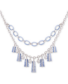 """GUESS Silver-Tone Crystal & Colored Resin Statement Necklace, 16"""" + 2"""" extender"""