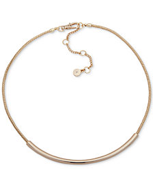 "DKNY Gold-Tone Curved Bar Collar Necklace, 16"" + 3"" extender"