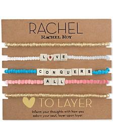 RACHEL Rachel Roy Two-Tone 5-Pc. Set Message Stretch Bracelets