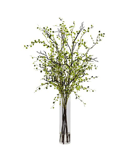 Nearly Natural Night Willow Arrangement in Glass Vase