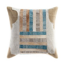 LR Home Lines and Stripes Patchwork Throw Pillow