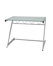 "Z Deluxe 50"" x 37.5"" Desk with Shelf in Aluminum with Frosted Glass Top"