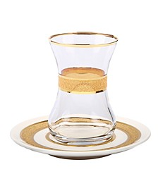 Set Of 6 Tea Set with Rich Gold Design
