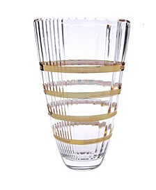 Glass Vase with 14K Gold Brick Design