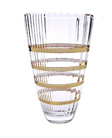 Classic Touch Glass Vase with 14K Gold Brick Design