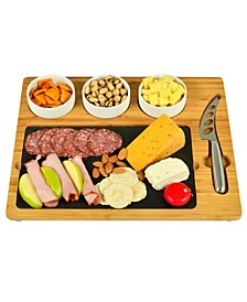 Deluxe Bamboo, Slate Cheese Board, 3 Bowls, Multifunction Knife