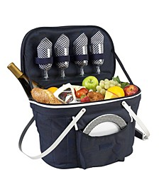 Collapsible Picnic Basket Cooler - Equipped with Service For 4