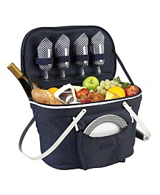 Picnic at Ascot Collapsible Picnic Basket Cooler - Equipped with Service For 4