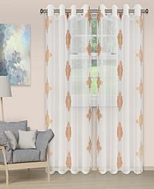 "Lightweight Damask Sheer Curtain Panels, Set of 2, 52"" x 63"""