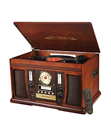Wood 7-In-1 Nostalgic Bluetooth Record Player with CD Encoding and 3-Speed Turntable