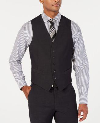 Men's Portfolio Slim-Fit Stretch Black Solid Suit Vest