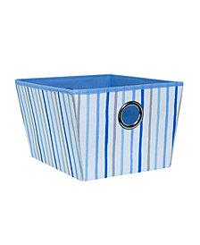 Laura Ashley Kids Medium Grommet Storage Bin in Painterly Blue Stripe