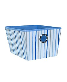 Laura Ashley Kids Medium Grommet Storage Bin in Painterly Blue Stripe