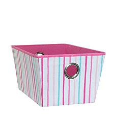 Laura Ashley Kids Medium Grommet Storage Bin in Painterly Pink Stripe