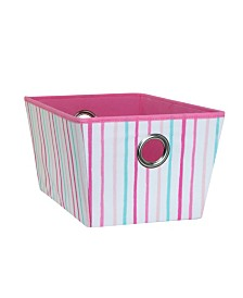 Laura Ashley Kids Medium Grommet Storage Bin in Painterly Pink Stripe