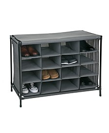 16 Compartment Shoe Cubby in Black