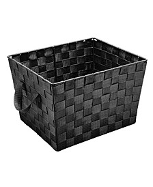 Small Woven Storage Bin in Black