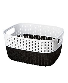 2-Tone Decorative Medium Storage Basket in Black