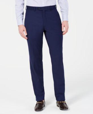 Men's Portfolio Slim-Fit Stretch Navy Solid Suit Pants